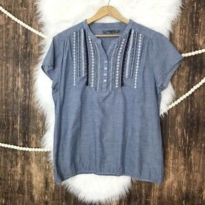 Prana | Embroidered Chambray Blouse XL